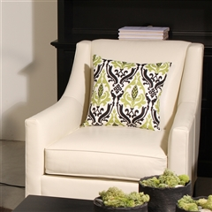 Linen Damask Print Green Black 16x16 Throw Pillow
