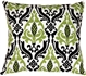 Linen Damask Print Green Black 18x18 Throw Pillow