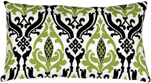 Linen Damask Print Green Black 12x20 Throw Pillow