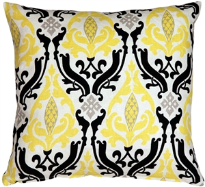 Linen Damask Print Yellow Black 18x18 Throw Pillow