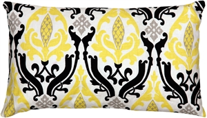 Linen Damask Print Yellow Black 12x20 Throw Pillow