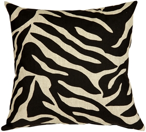 Linen Zebra Print 20x20 Throw Pillow