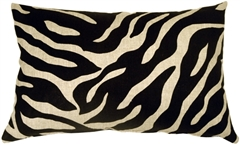 Linen Zebra Print 16x24 Throw Pillow