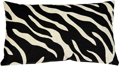 Linen Zebra Print 12x20 Throw Pillow