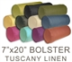Tuscany Linen 7x20 Bolster Pillows