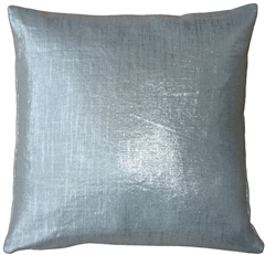 Tuscany Linen Silver Metallic 16x16 Throw Pillow