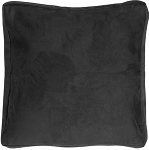 16x16 Box Edge Royal Suede Black Throw Pillow