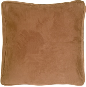 16x16 Box Edge Royal Suede Camel Throw Pillow
