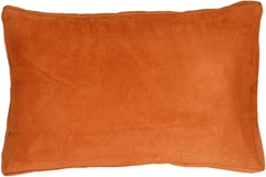 14x22 Box Edge Royal Suede Burnt Orange Throw Pillow