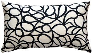 Outdura Cream Candid Licorice 12x20 Outdoor Throw Pillow