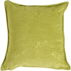 Ancient Runes Green 17x17 Throw Pillow