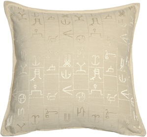 Ancient Runes Cream 17x17 Throw Pillow