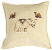Indian Elephant and Camels Decorative Throw Pillow