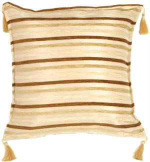 Chenille Stripes in Chocolate, Beige and Cream Throw Pillow