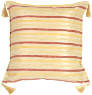Chenille Stripes in Rose, Gold and Cream Throw Pillow