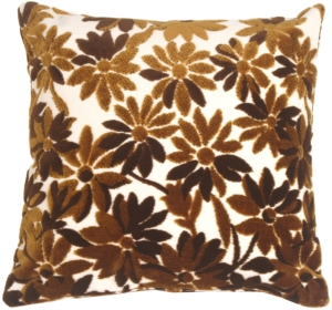 Chocolate Chenille Floral on Cream Throw Pillow