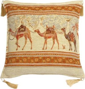 Camel Caravan Cream and Gold 17x17 Throw Pillow
