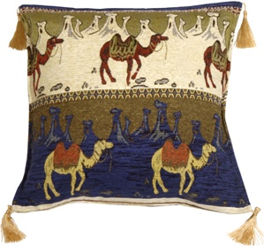 Camel Caravan Blue and Cream 17x17 Throw Pillow