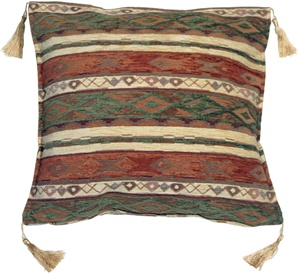 Kilim Stripes Green and Rust 17x17 Throw Pillow