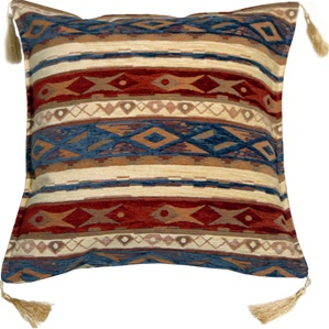 Kilim Stripes Blue and Red 17x17 Throw Pillow