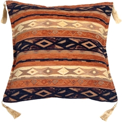 Kilim Stripes Blue and Orange 17x17 Throw Pillow