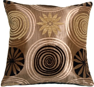 Faria Flower Brown 17x17 Throw Pillow