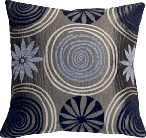 Faria Flower Blue 17x17 Throw Pillow