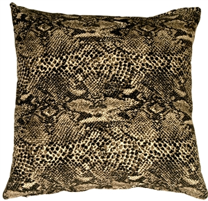 Snake Print Cotton Large Throw Pillow