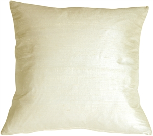 Dupioni Silk 17x17 Vanilla Throw Pillow