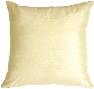 "Dupioni Silk 22"" Rich Cream Throw Pillow"