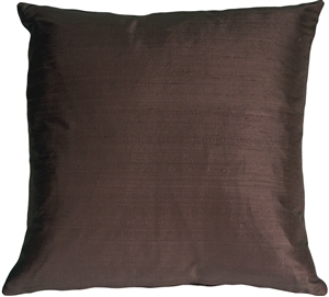 Dupioni Silk 17x17 Plum Brown Throw Pillow