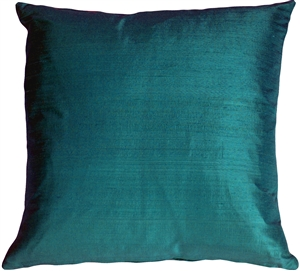 "Dupioni Silk 22"" Teal Blue Throw Pillow"