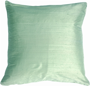 "Dupioni Silk 22"" Mint Green Throw Pillow"