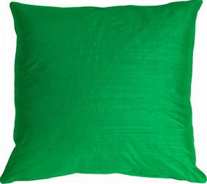 "Dupioni Silk 22"" Emerald Green Throw Pillow"