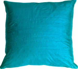 "Dupioni Silk 22"" Peacock Blue Throw Pillow"