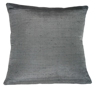 "Dupioni Silk 22"" Charcoal Gray Throw Pillow"