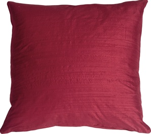 "Dupioni Silk 22"" Crimson Throw Pillow"