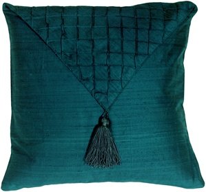 Dupioni Silk Teal Blue Envelope Throw Pillow