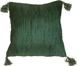 Crinkle Silk in Emerald Green Throw Pillow from Pillow Decor