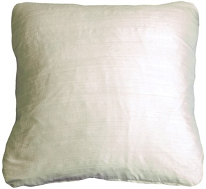 Round Corner Off White Silk 17x17 Throw Pillow