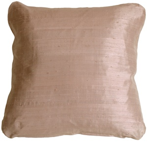 Round Corner Light Mocha Silk 17x17 Throw Pillow