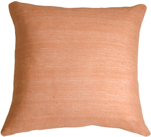 Tussar Silk Apricot 22x22 Throw Pillow