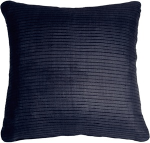 Ribbed Silk Navy Blue 22x22 Throw Pillow