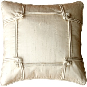 Knotted Silk Ivory 18x18 Throw Pillow