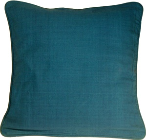 Ribbed Cotton Teal 24x24 Throw Pillow