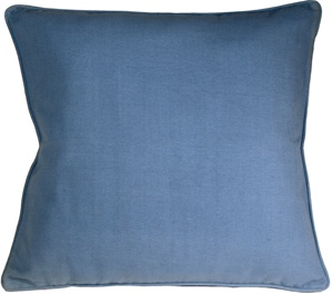 Ribbed Cotton Blue 26x26 Throw Pillow