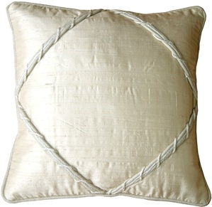 Diamond Silk Ivory 17x17 Throw Pillow