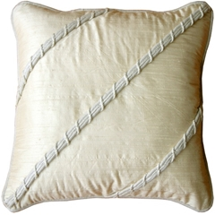 Diagonal Silk Ivory 17x17 Throw Pillow