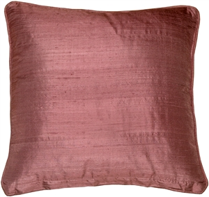 Dupioni Silk 17-Inch Square Wild Berry with Piping Throw Pillow