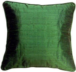 Dupioni Silk 17-Inch Square Emerald Green with Piping Throw Pillow